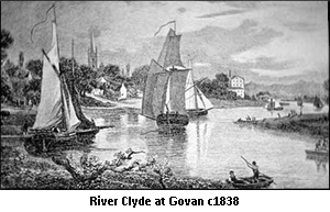 Boats on the River Clyde at Govan c1838