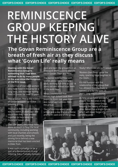A page from Issue 3 of Govan Life Magazine